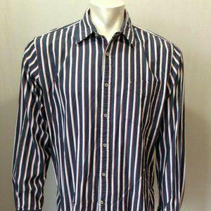 Tommy Hilfiger Men's Blue Red Striped Long Sleeve